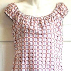 BCBG Paris Cotton Check Off Shoulder Dress